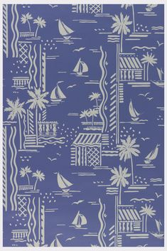 Scenes of boats, houses and palm trees, printed in off-white on medium blue ground. Graphic Patterns, Textile Patterns, Textile Prints, Textile Design, Print Patterns, Surface Pattern Design, Pattern Art, Boat Wallpaper, Conversational Prints