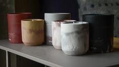 scented-candles-in-marbled-look-concrete-pots Room Scents, Bed Company, Concrete Pots, Palm Oil, Candle Wax, Scented Candles, Fig, Fragrance, Tableware