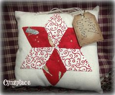 Whimsical Red Star  Pillow Tuck by cynzplace on Etsy