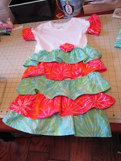 Ruffled child's dress from a t-shirt
