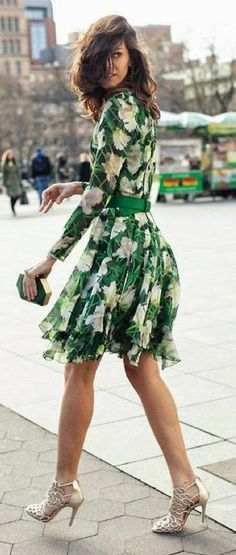 Luv to Look | Curating Fashion & Style: Spring street style | Green printed dress