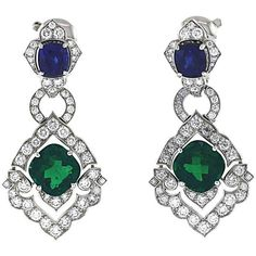Preowned Original Cartier Colombian Emeralds Diamonds Sapphires... ($385,000) ❤ liked on Polyvore featuring jewelry, earrings, multiple, emerald green earrings, sapphire jewelry, emerald jewelry, emerald green jewelry and emerald earrings