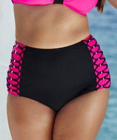 Look what I found on #zulily! Black & Hot Pink High-Waist Bikini Bottoms - Women & Plus #zulilyfinds