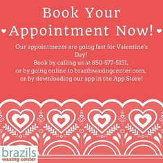 Our appointments are going fast for Valentine's Day! If you want your technician or a specific time be sure to book now! #valentinesday #wax #waxing #fl #florida #tally #tallahassee #jax #jacksonville