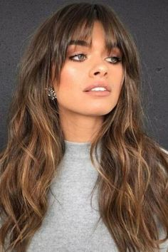 Medium Long Hair, Long Hair With Bangs, Haircuts With Bangs, Medium Hair Styles, Curly Hair Styles, Pixie Haircuts, Long Hair Fringe Styles, Fringe With Long Hair, Bangs Medium Hair