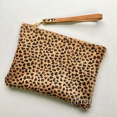 Leopard print leather wristlet. Tan brown and leopard print leather clutch. Luxury gift women