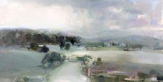 """Hannah Bureau - Distant Rain 24"""" x 48"""" oil on canvas - $3200"""