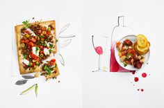 More examples of this photography/illustration layering effect. Would be nice for a cook book to combine illustration and food photography.