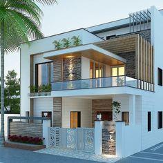 Exterior Design for morden house Modern Small House Design, Modern Exterior House Designs, Modern House Facades, Dream House Exterior, Modern Architecture House, Building Architecture, Architecture Design, Modern Bungalow Exterior, Simple House Design