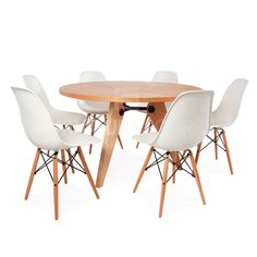 Dining Set with Round Gueridon Wooden Table & 6 DSW Chairs Prouve & Eames Style Wooden Tables, Dining Table, Dining Sets, Midcentury Modern, Interior, Furniture, Chairs, Mid Century, Design