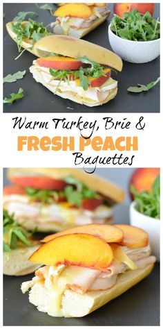With warm Brie, fresh peaches, spicy arugula and tangy honey mustard, these turkey sandwiches are anything but basic. Thanks to Foster Farms for sponsoring this post. Honey Recipes, Veggie Recipes, Lunch Recipes, Dinner Recipes, Dinner Ideas, Sandwich Recipes, Lunch Ideas, Quick Healthy Lunch, Quick Easy Meals