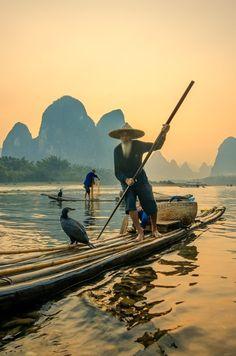 Cormorant fishermen in Xingping   Guilin.