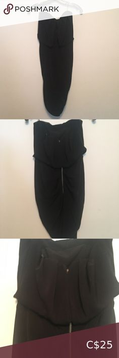 Guess LBD Guess Little black dress Back zipper Draping style very nice Hem is ripped under Guess Dresses Mini