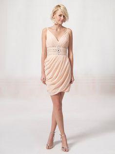 V Neck Bridesmaid Dress with Beaded Waistband