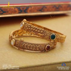 Get In Touch With us on Gold Bangles Design, Gold Jewellery Design, Antique Jewellery Designs, Beaded Jewelry Designs, Gold Wedding Jewelry, Gold Jewelry, Gold Kangan, Manish, Bracelet