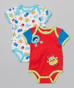 Look at this #zulilyfind! Red Monster Bodysuit Set - Infant by Nûby #zulilyfinds