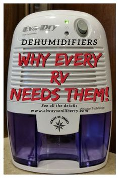 A camper and RV's worst enemy is water and moisture! These small portable dehumidifiers are perfect for small spaces; even in boat compartments. Every RV, motorhome, travel trailer, wheel, and camper van needs at least one. Mitigate mold growth before Camping Must Haves, Camping Hacks, Rv Camping Checklist, Camping Essentials, Camping Gear, Rv Hacks, Camping Guide, Camping Equipment, Outdoor Camping