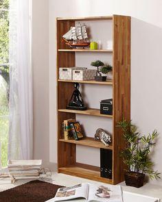 Standregal aus Eiche massiv Das Standregal SIMON besteht aus hochwertigem Eichenholz und erzeugt in natürlichem Eichefarben ein stilvolles Ambiente. Zum Schutz wurde die Oberfläche geölt – so haben Sie lange Freude an diesem schönen Möbelstück. Mit den Maßen ca. 80 x 179 x 31 cm (B x H x T) findet das Regal angenehm Platz und bietet dabei ausreichend Stauraum. In fünf offenen Fächern können Sie Dekoartikel, Bücher und Ordner gekonnt arrangieren. Bookshelves, Bookcase, Regal Design, Framing Materials, Types Of Wood, Tall Cabinet Storage, Beautiful Homes, Beige, Furniture
