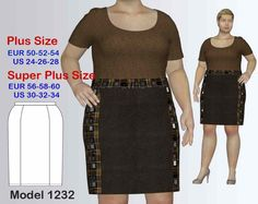 Plus size Knee-Length Business Skirt sewing pattern PDF, sizes 24-34