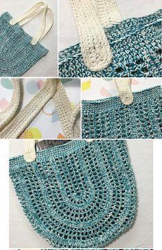 Bolsa Punto calado (Patron) Crotchet Bags, Knitted Bags, Crochet Clutch, Crochet Fashion, Clutch Purse, Easy Crochet, Straw Bag, Purses And Bags, Diy And Crafts