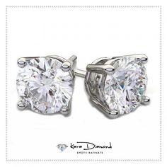 Shop Earrings like this 2 ctw Diamond Solitaire Earrings at D. Diamond Solitaire Earrings, Diamond Jewelry, Handmade Jewelry, White Gold, Wedding Rings, Stud Earrings, Engagement Rings, Jewels, Gemstones