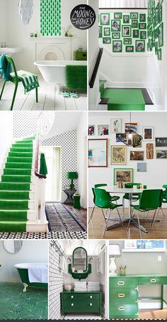 Green interior decorating design , green home, green room