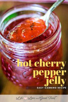 Cherry Jelly Recipes, Cherry Pepper Recipes, Jalapeno Jelly Recipes, Pepper Jelly Recipes, Hot Pepper Jelly, Bell Pepper, Jalapeno Pepper Jelly, Cherry Pepper Relish Recipe, Pickled Cherry Peppers Recipe
