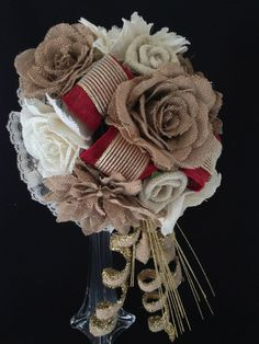 Elegant Fall Wedding Red Cream and Natural Burlap Rose Cascading Bridal Bouquet Customizable by thepetalhouse.etsy.com