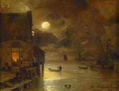 Night of full Moon at the Quay (also known as Vollmondnacht am Kai) by Andreas Achenbach Full Moon Night, Moonlight Painting, Renaissance Paintings, Moon Art, Ancient Art, Nature Pictures, Outdoor Travel, Fantasy Art, Scenery