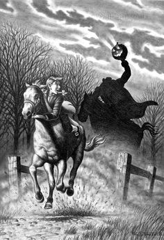 Halloween would not have been celebrated among the Dutch settlers written about in The Legend of Sleepy Hollow, but the story is still perfect for Halloween due to its atmosphere and subject matter. Diy Halloween, Halloween Vintage, Halloween Prints, Halloween Images, Halloween Horror, Holidays Halloween, Happy Halloween, Samhain Halloween, Halloween Series
