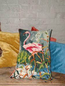 Flamingo needlepoint pillow
