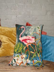 Flamingo needlepoint pillow