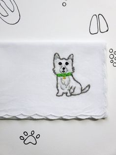 Animal Dog Embroidered Handkerchief by wrenbirdarts    Dog Lover, Terrier Accessory, Hand Embroidered Dog, Vintage Style,