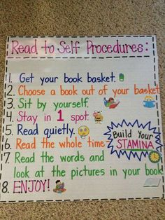 Teach Your Child to Read - Mrs. Terhunes First Grade Site!: Anchor Charts - Give Your Child a Head Start, and.Pave the Way for a Bright, Successful Future. Ela Anchor Charts, Kindergarten Anchor Charts, Reading Anchor Charts, Kindergarten Reading, Teaching Reading, Guided Reading, Reading Lessons, Reading Time, Stamina Anchor Chart