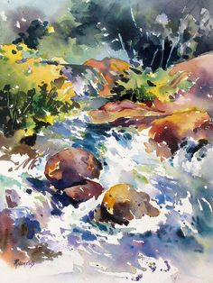 Watery Respite Painting by Rae Andrews - Watery Respite Fine Art Prints and Posters for Sale Watercolor Water, Watercolor Landscape Paintings, Watercolor Flowers, Waterfall Paintings, Water Art, Watercolor Illustration, Gouache, Painting Inspiration, Oeuvre D'art