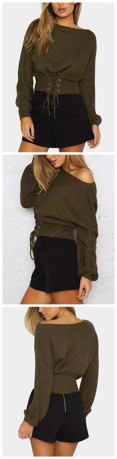 Army Green Lace-up Design Bateau Knitted Sweaters
