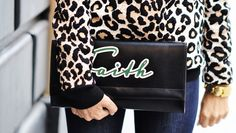 DIY ACCESSORY INSPO | Text Leather Clutch + Leopard