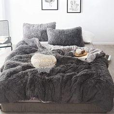 Pure Color Mink Velvet Bedding Sets wool Fleece - Bed and Bedcover Fluffy Bedding, Fur Bedding, Grey Bedding, Sheets Bedding, Bedding For Men, Neutral Bedding, Boho Bedding, Cama Full, Cozy Bedroom