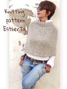 Poncho Knitting Patterns, Knit Patterns, Knitting Ideas, Crochet Turtle, Summer Knitting, Knitted Poncho, Lana, Turtle Neck, Etsy