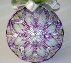 Purple White and Silver Quilted Ornament Ball by YouniqueOrnaments, $25.00