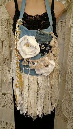 Handmade Denim Vintage Lace Shoulder Bag Hippie Fringe Boho Hobo Purse tmyers #Handmade #ShoulderBag