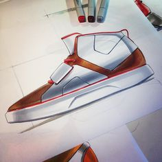Footwear design - Marker sketch By Thomas Funder @lifeasfunder
