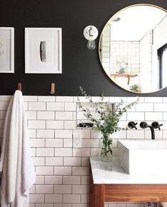 Love there white subway tile and black wall paint for a small bathroom Classic bathroom. Love there white subway tile and black wall paint for a small bathroom Bathroom Renos, Bathroom Renovations, Bathroom Interior, Bathroom Mirrors, Bathroom Black, Bathroom Subway Tiles, Bathroom Cabinets, Bathroom Things, White Subway Tiles