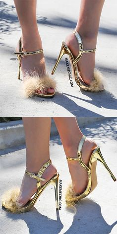 Metallic Feather Strappy Heels GOLD