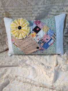 Quilt Pillow made from Vintage Quilt with Uplifting Quote or Motto by LRFoxDesign on Etsy