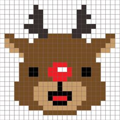 Crochet Rudolph Pixel Square - Repeat Crafter Me - Rudolph the red-nose reindeer, had a very shiny nose! Remember when I said the Snowman square was - Christmas Afghan, Christmas Cross, Crochet Christmas, Xmas, Christmas Knitting, Christmas Ideas, C2c Crochet, Crochet Squares, Crochet Afghans