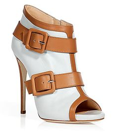 GIUSEPPE ZANOTTI White and camel peep-toe booties