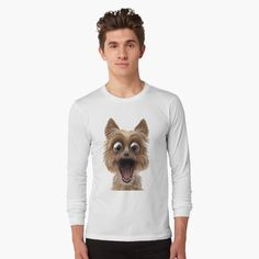 surprised dog face by Shark-Plaza | Redbubble Surprised Dog, Graphic Sweatshirt, T Shirt, Shark, Sweatshirts, Long Sleeve, Face, Dogs, Sleeves