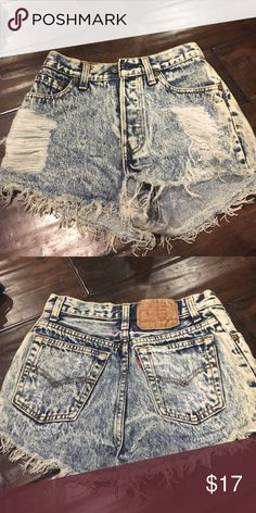 Levi Faded Blue Shorts Levi High Waisted Shorts (has small pink stain on back) Levi's Shorts Jean Shorts
