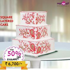 mazing #Offer! Flat 50% OFF. #Sendmygift brings to you this #Delicious Delectable Square Layered #Cake worth Rs.13,499 at Rs.6,700 only. Make your #Celebrations Grand with Sendmygift Order now at http://bit.ly/2bie5mS  Wedding Style Cakes & Cookies World Luv Cakes Sweeten Happy Anniversary India